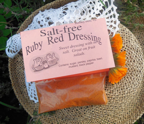Salt-free Ruby Dressing Mix, Hand-blended Dry salt free Cooking Herb Mix, no salt, gluten free