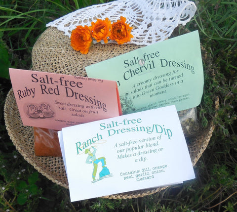 Salt-Free Herbal Salad Dressing Mixes, Hand-blended, Herb Seasoning