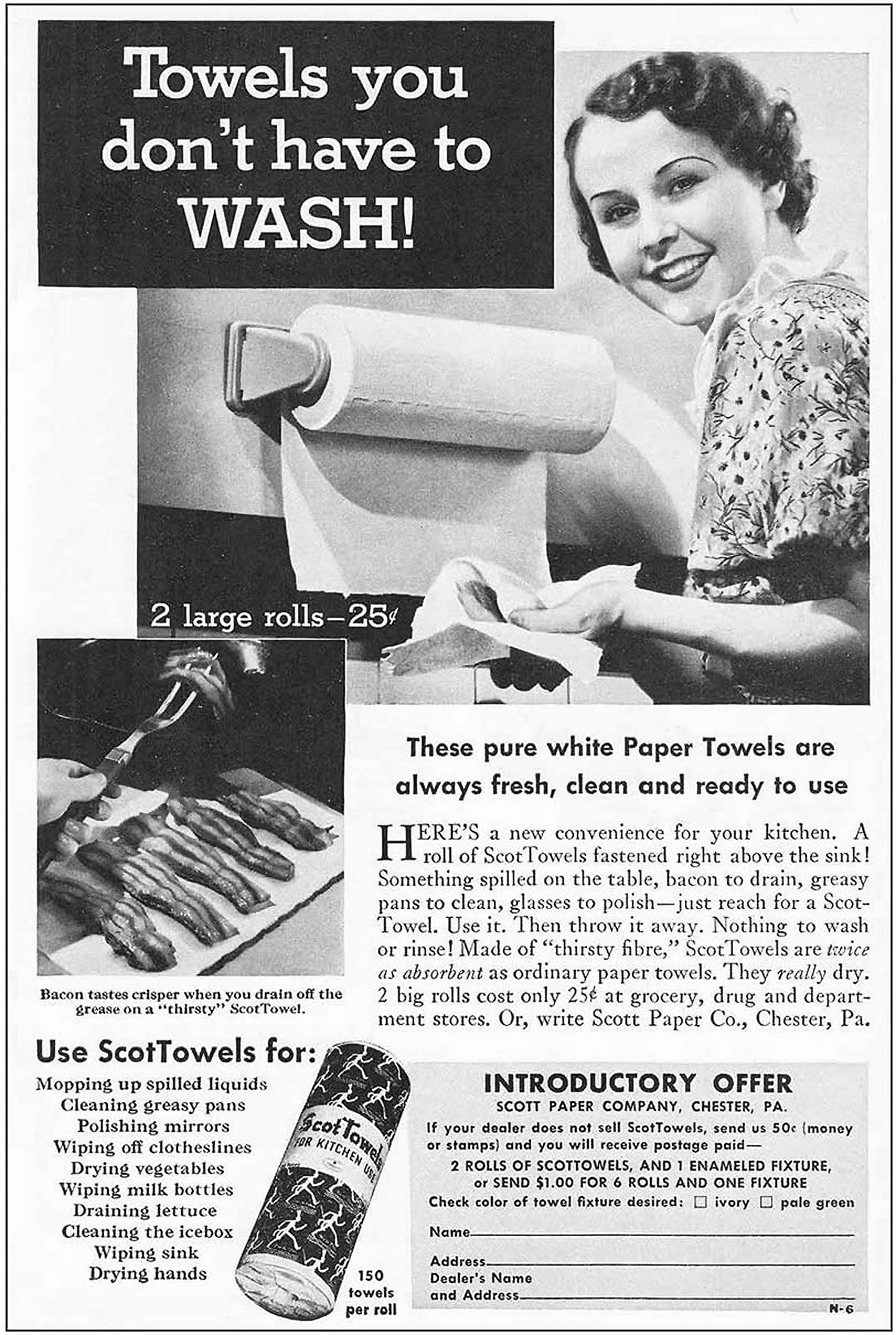 Scott Towel paper towel advertisement from 1936