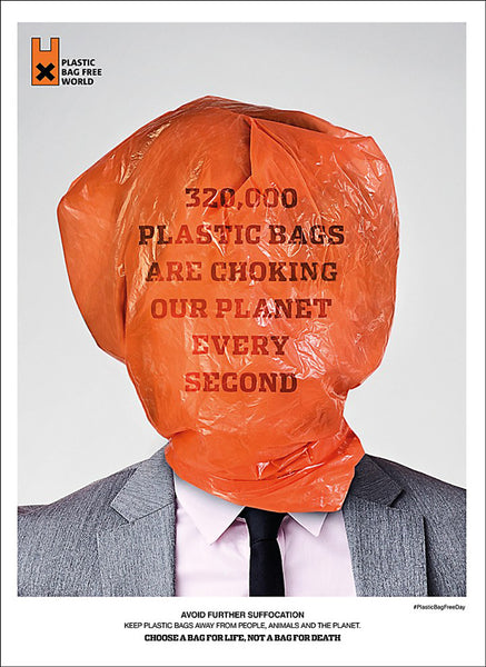 "Man's head wrapped in a plastic bag that says ""320,000 plastic bags are choking our planet every second"""