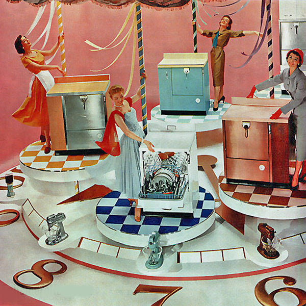 1960s suburban housewives modeling the latest dishwashers on a carousel