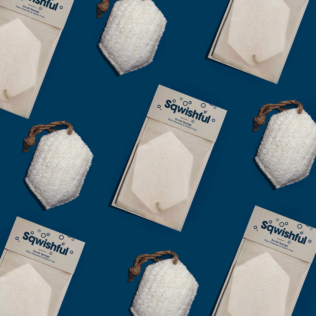 Sqwishful scrub sponges in and out of their zero waste packaging