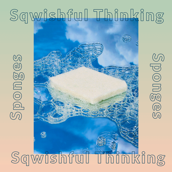 """The words """"Sqwishful Thinking"""" framing a photo of a sustainable sponge floating in clouds"""