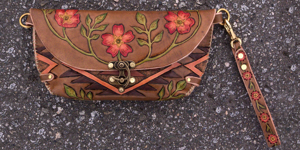 Ayla cow skull wild rose clutch Front Eulalee Leather