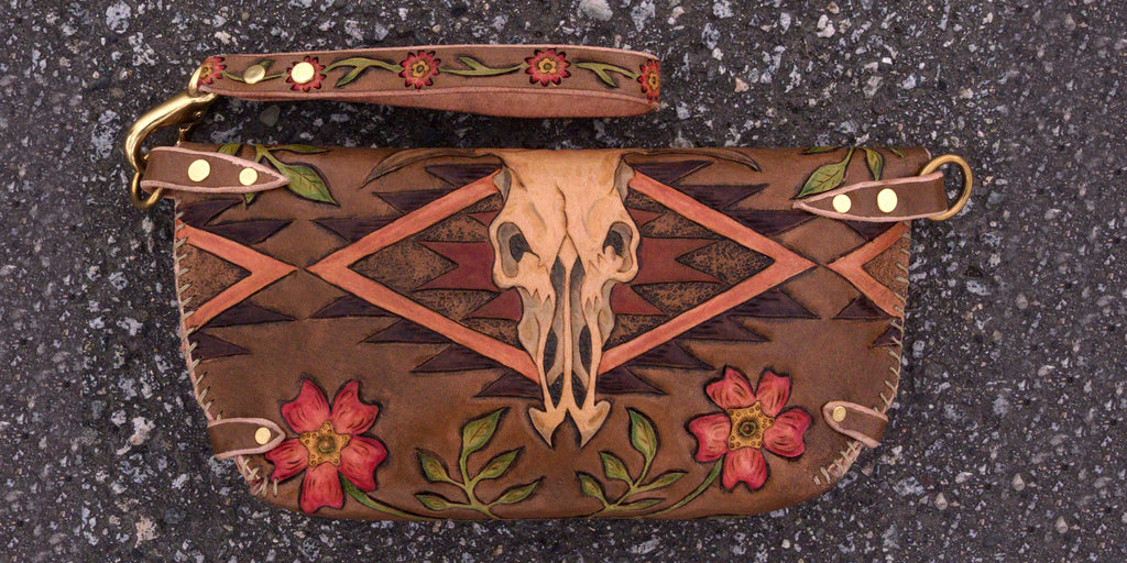 Ayla cow skull wild rose clutch Back Eulalee Leather