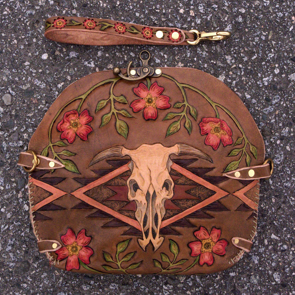 Ayla cow skull wild rose clutch Back Flap Eulalee Leather