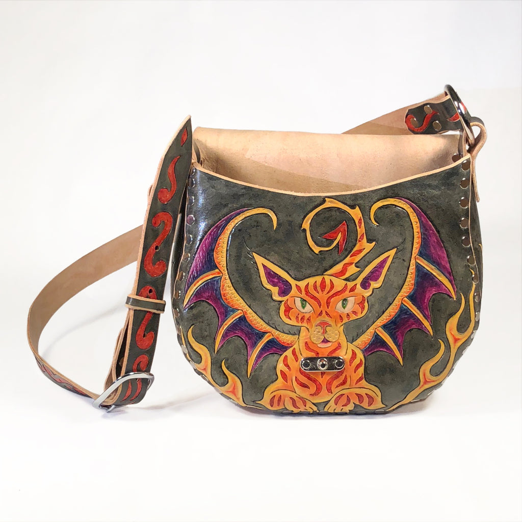 Cat Dragon Hobo Under flap Eulalee Leather