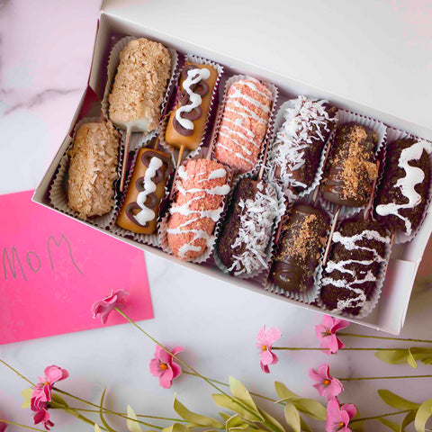 Mothers Day gift basket with chocolate covered fruit