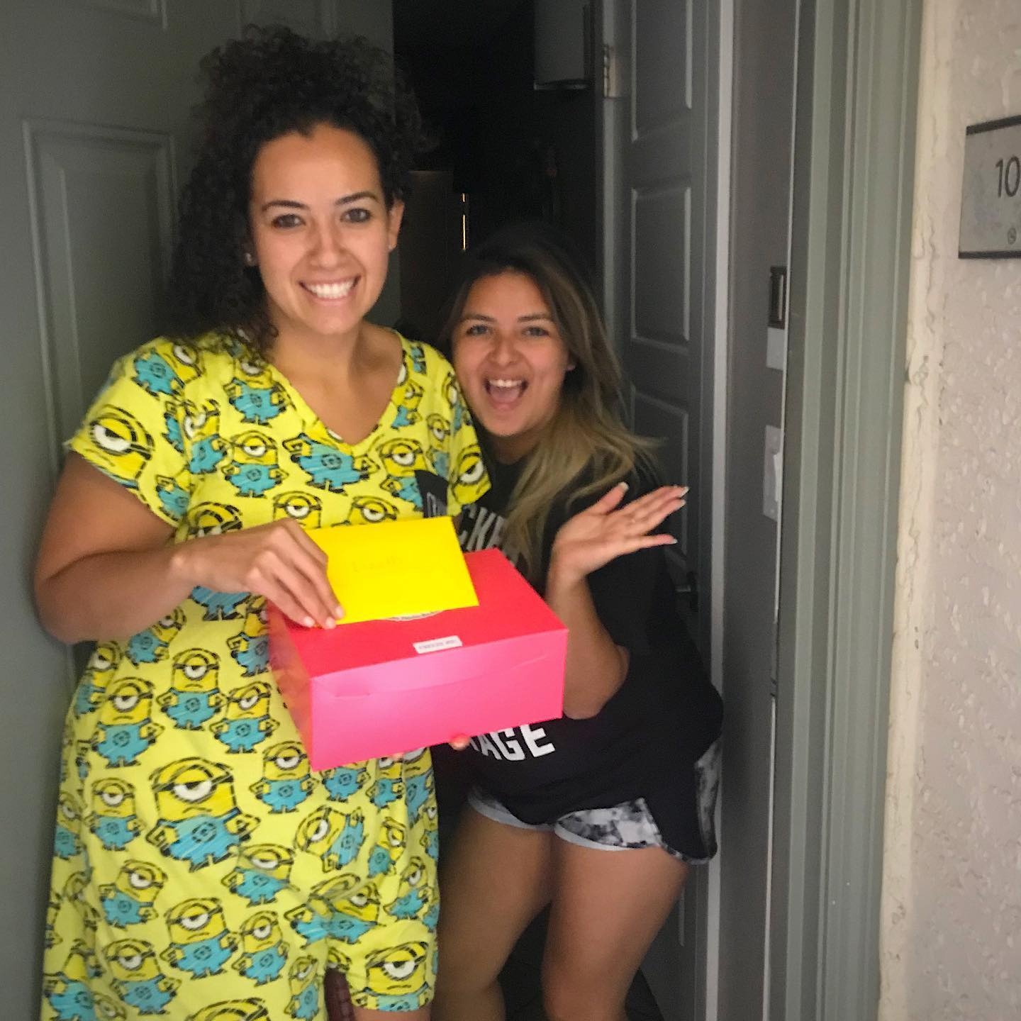 Two girls receiving a birthday gift delivered in Las Vegas