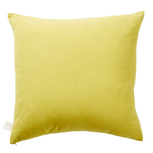 A blush embroidered love heart punctuates this chartreuse textured cotton cushion