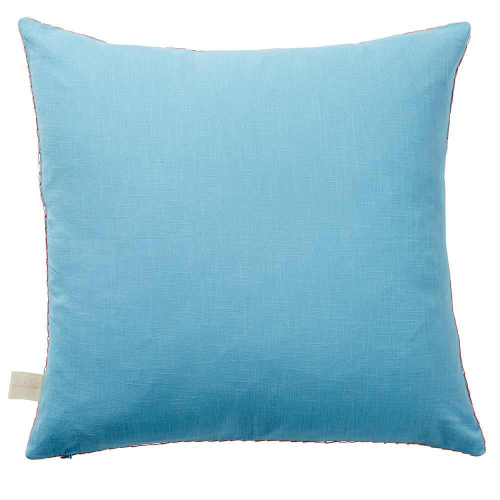 A turquoise textured cotton cushion adorned with an embroidered midnight wattle motif and decorative coral stitch edging. Includes feather insert.