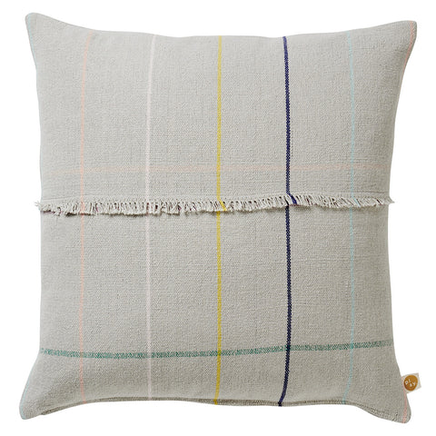 A versatile cloud grey woven cushion with a fine multicolour check detail and complete with feature fringed