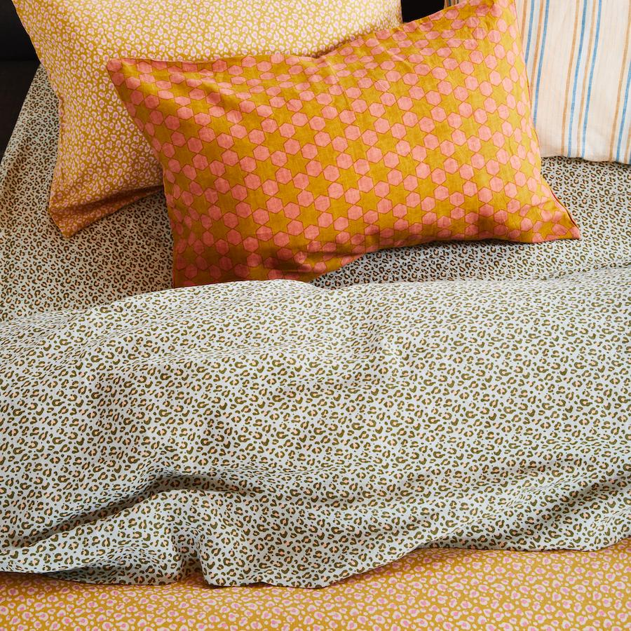 Ajo Linen Quilt Cover in a Honey leopard print design