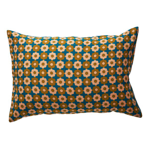 Amante Linen Pillowcase with a floral design in turquoise, honey and peach