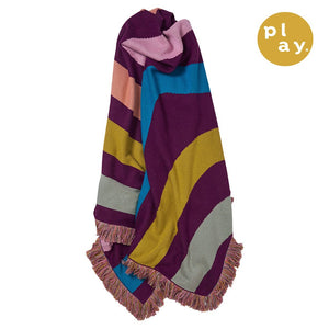 Avara Knit Throw in multi-coloured stripe pattern