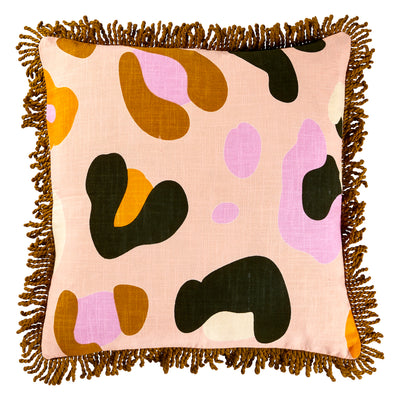 Aceline Cotton Fringe Cushion Leopard Animal Print