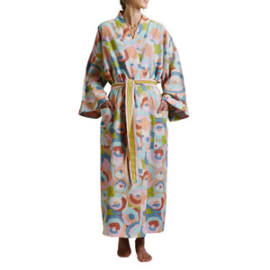 Adilah Cotton Flax Linen Abstract Floral Tie Bath Robe