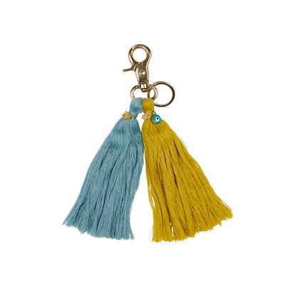 Tassel Key Ring in slate blue and lemon yellow pink. Hand crafted with evil eye and hand hamsa charms