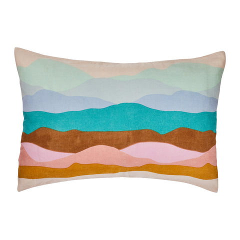 hand printed linen pillowcase with mountain-scape in seasonal colours