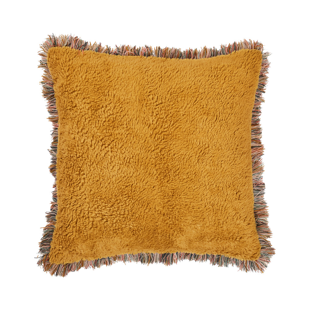 Albi Shearling Cushion - Dandelion 70s vibe cushion in vibrant hue with mixed yarn fringe and floral print reverse.