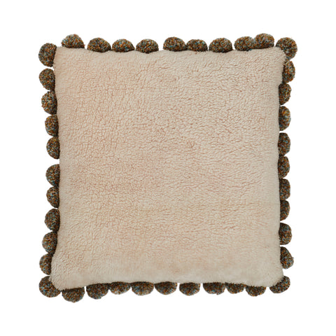 Albi Shearling Cushion - Parchment 70s vibe cushion in understated parchment hue with mixed yarn Pom Poms and large-scale check reverse.