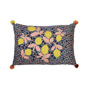 Blue cushion with Pom Poms and yellow lemon embroidered motif