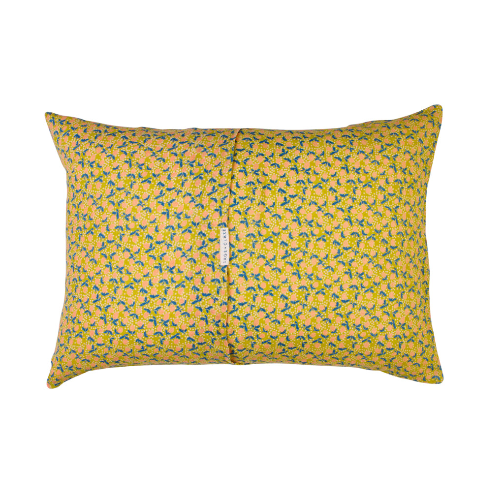 Yellow lemon standard pillowcase with coral lemons and blue leaves