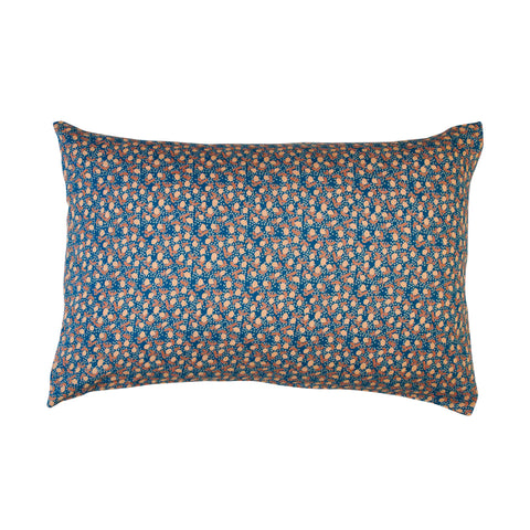 Blue lemon standard pillowcase with peach lemons and coral leaves