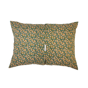 Moss linen pillowcase with coral lemons and leaves