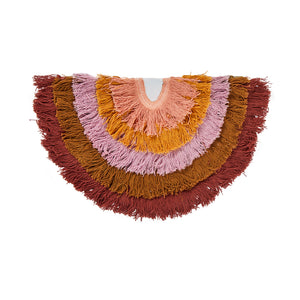 Anza Fringe Clutch. Fringing clutch in a semi-circle design. Finished with a haze cotton reverse and gold metallic zip.