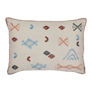 Arizona Embroidered Cushion. A traditional folk inspired pattern complemented by time-honoured artisanal qualities. With corded hand emboridery and a blanket stitch edge.