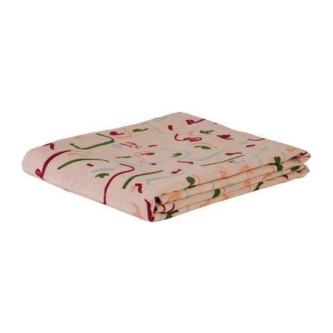 European flax hand printed linen flat sheet, blush parchment, abstract faces pattern