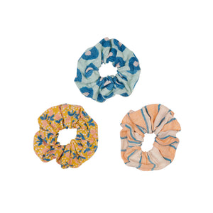 Azro hand printed linen hair scrunchie set of three