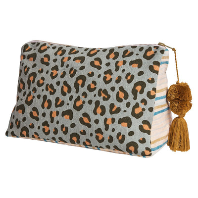 Bobby Cosmetic Bag in saltbush leopard print design with pom pom and tassel