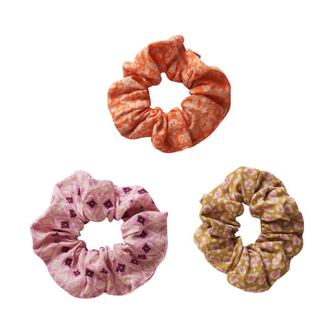 Bodega Hair Scrunchie Set in animal print, geometric, and floral