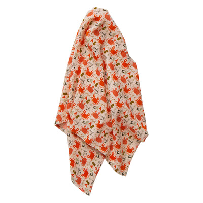Bumbi Muslin Wrap in an illustrated crab design