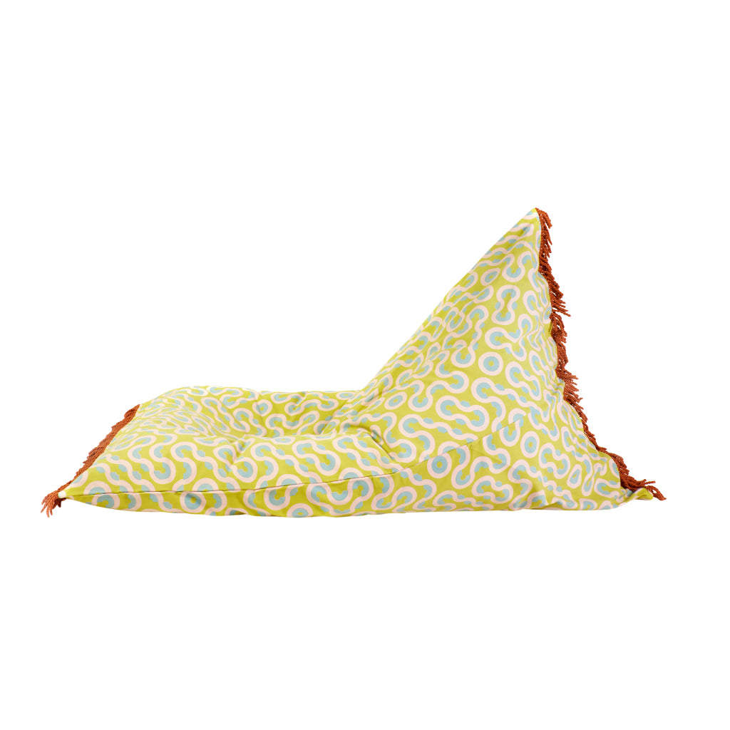Bilbao hand printed geometric lemon beanbag with fringing