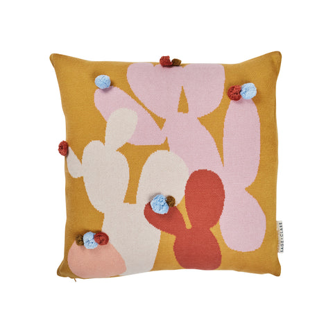 Bonnie Pom Pom Cushion. Cactus Motif cushion with desert hues. Pom poms attached.