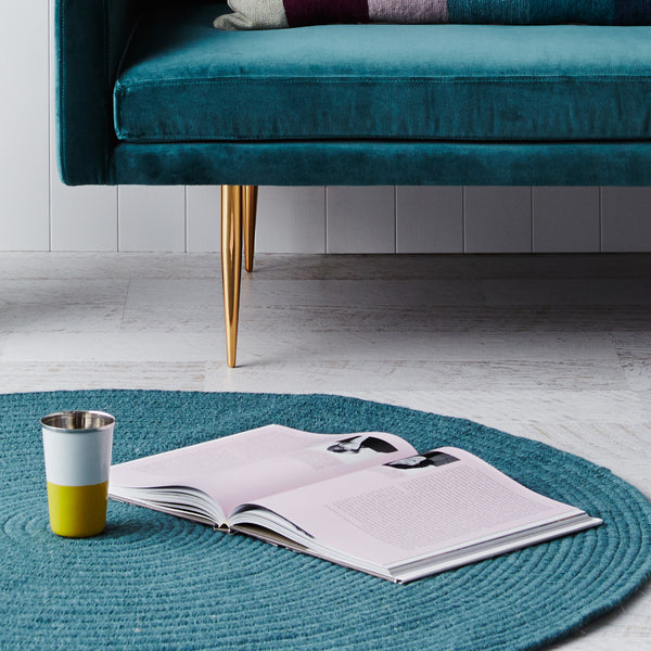 Braided Round Wool Rug Teal