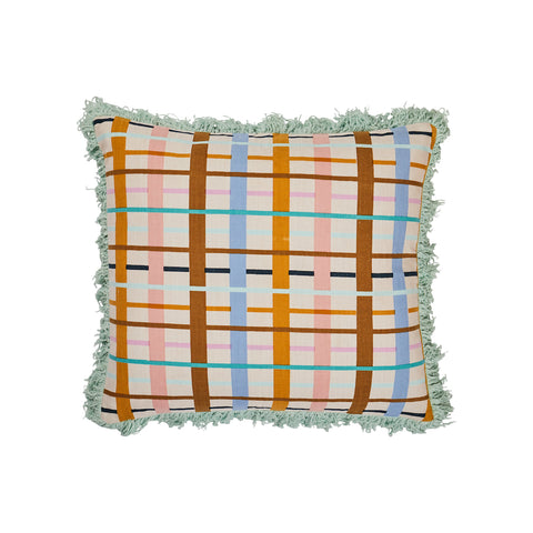Burney Fringe Cushion. Large scale check patterned fringe cushion with earthy tones. Finished with an aloe coloured fringed boarder.