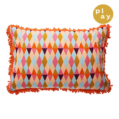 Capella Fringe Cushion in a multi-coloured harlequin design with cord fringing