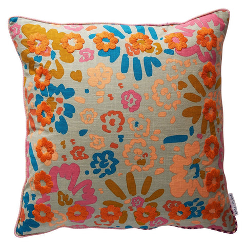 Carabela embroidered cushion with floral and geometric pattern in multi-colour