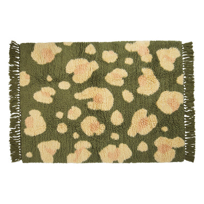 Carlos Shag Rug in multi-colour, large-scale leopard print design and knotted fringing