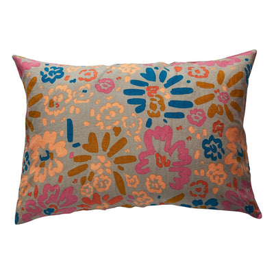 Carmen Linen Pillowcase - Saltbush in a wandering floral design
