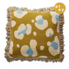 Cindy Knit Cushion in a honey large-scale leopard design fringed edging