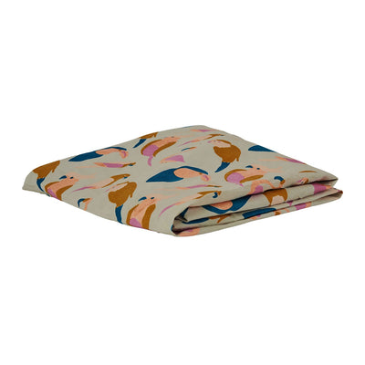 Condo Cot sheet in multi-coloured bird design