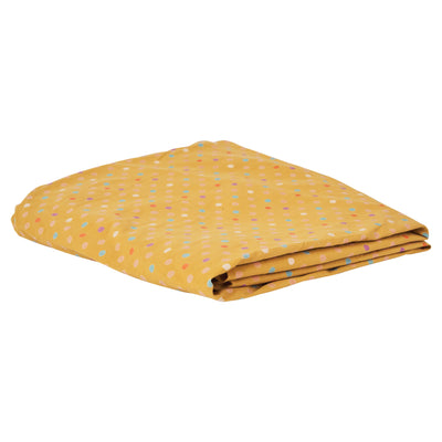 Cora Cot Sheet in honey with multi-coloured polka dots