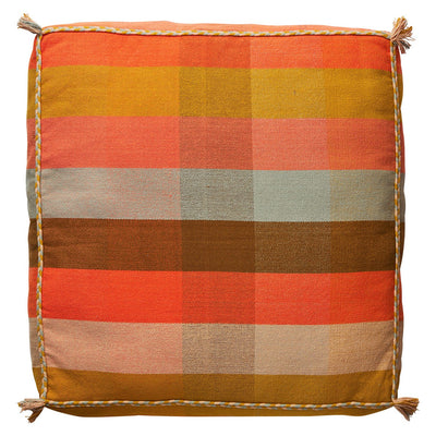 Cova Woven Floor Cushion in a tangerine large-scale check pattern