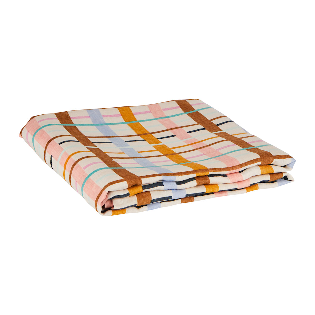 Cady Check Linen Fitted Sheet. Check pattern hand printed fitted sheet. Comes in Queen size and King size. Colours of cornflower, taffy, terracotta, tan, haze, dandelion and opal.