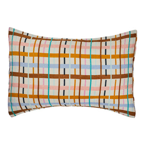Cady Check Linen Standard Pillowcase Set. Check hand printed linen pillowcase set. In colours of taffy, terracotta, tan, haze, dandelion and opal. Finished with hemmed cuff.